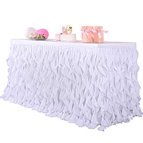 Leegleri 6ft White Curly Willow Table Skirt Tulle Tutu Table Skirt Taffeta Table Skirt for Round Table or Rectangle Tables,Table Skirting for Weeding,Baby Shower Decoration