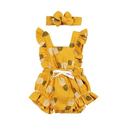 Carolilly Conjunto de 2 piezas de pelele de bebé para niña, de algodón Giallo A 6-12 Meses
