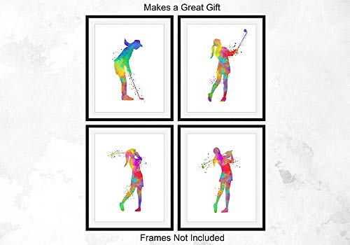 Female Golfer Player Sport Abstract Wall Art, 8x10, Ready to Frame Set of 4 Prints, Ideal for Women Players, Coaches and Golf Fans - Great Teen Girl Bedroom, Golf Club Locker Room or Dorm Room Décor