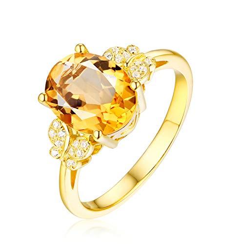 AueDsa Anillos Amarillo Anillo de Oro Amarillo Mujer 18 K Oval Citrino Amarillo Blanco 2.23ct Anillo Talla 21