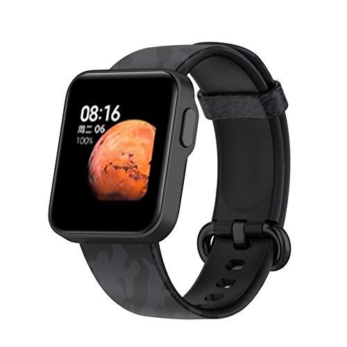 SFNTION (conocimientos especializados) (explosión) Compatible para Xiaomi Mi Watch Lite/Redmi Watch Lite Smart Watch Bandeja de repuesto con impresión de silicona Camuflaje, código negro