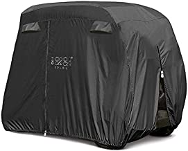 10L0L Universal 4 Passenger Golf Cart Cover for EZGO Club Car Yamaha, Waterproof Sunproof Outdoor Storage Cover - Black