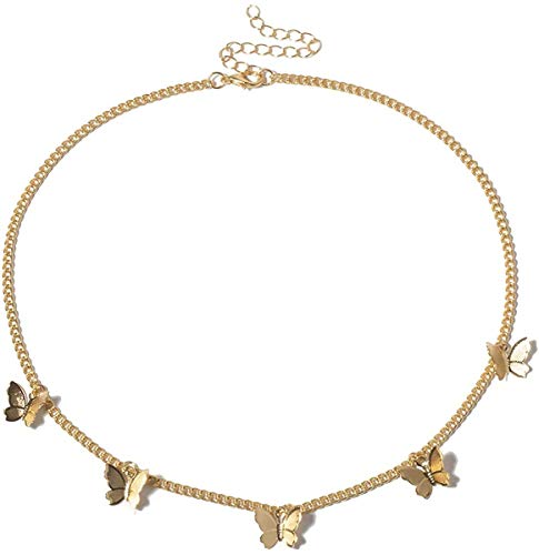 NICEMOVIC Dainty Butterfly Necklace for Women 18K Gold Choker Necklaces Butterfly Choker for Wife Girlfriend Friends Gifts (Gold)