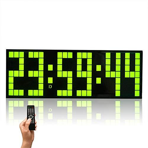 Keliour Reloj de pared con control remoto Jumbo Digital con LED y calendario grande de minutos con alarma, reloj de pared digital (color: verde, tamaño: 24 x 5,5 x 8,5 cm)