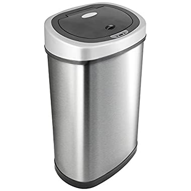 NINESTARS DZT-50-9 Automatic Motion Sensor Oval Trash Can, 13.2 Gal. 50 L., Stainless Steel
