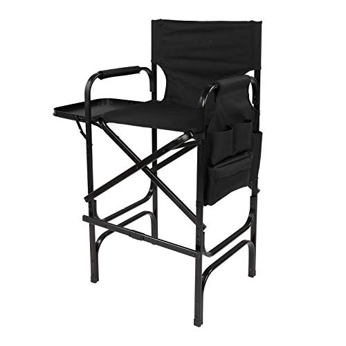 "Mefeir 30"" Tall Director Chair Black Folding with Side Table Storage Bag,Portable Makeup Artist Bar Height, Aluminum Frame 300 lbs Capacity, 33.8"" L x 19.2"" W x 45.6"" H"