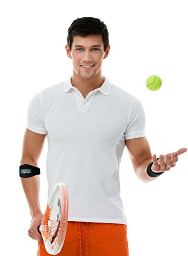 Simien Tennis Elbow Brace (2-Count), Tennis & Golfer's Elbow Pain Relief with Compression Pad, Wrist Sweatband and E-Book