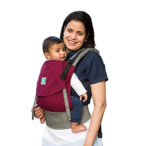 Kol Kol Baby Carrier Bag, 100% Hand Woven Cotton, Light-Weight, Safe & Ergonomic Baby Carry Bag with Hood & 2 Carry Positions, for 4 Months to 3 Year Old Baby, Maroon - Suitable for Men & Women