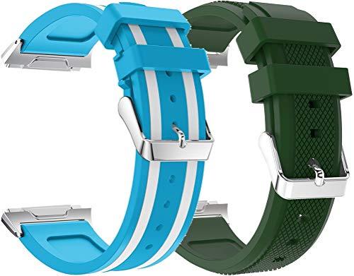 Abasic Correa de Reloj Compatible con Fitbit Ionic, Impermeable Reemplazo Correas Reloj Silicona Banda (2PCS D)
