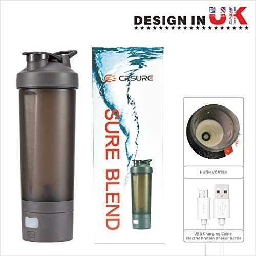Protein Shaker Bottle Blender, CRSURE Portable Blender Cup for Shakes and Smoothies Mixer Shaker Cups, 28 oz Rechargeable Vortex Mixer | BPA Free | Leak Proof, Electric Shake Bottles for Powder (Gray)