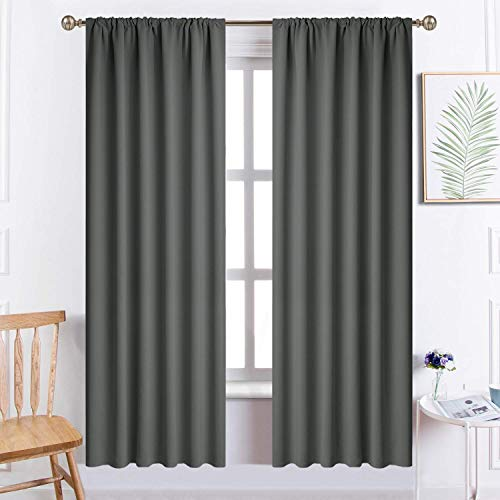 Yakamok Room Darkening Rod Pocket Window Drapes Thermal Insulated Light Blocking Blackout Curtains for Bedroom(52Wx72L,Dark Grey,2 Panels)