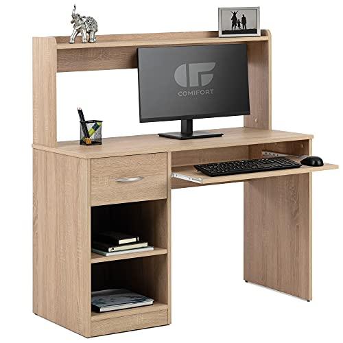 COMIFORT Mesa Escritorio - Escritorio Ordenador de Diseño 2 alturas 2 estantes 1 cajón y soporte teclado extraible. Escritorio de Estilo Moderno – SUARON sonoma
