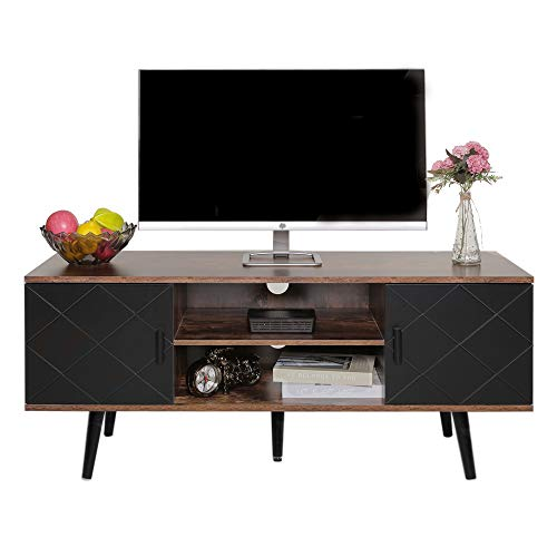 Iwell Mid-Century Modern TV Stand for Living Room, TV Console Storage Cabinet, Retro Home Media Entertainment Center for Flat Screen TV Cable Box Gaming Consoles, in Entertainment Room Office,DSG001B