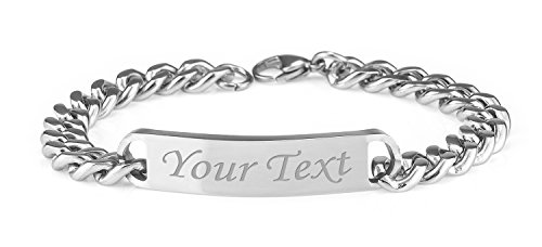 Personalised Men's Solid Stainless Steel Curb Chain Identity Bracelet - Enter Your Custom Text