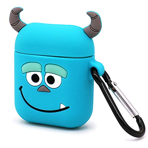 Megantree Cute Airpods Case, Airpods 2 Case, 3D Cartoon Funny Animals Blue Monster Sully Case, Shockproof Full Protection Soft Silicone Charging Case Cover Skin with Keychain for Airpods 1&2