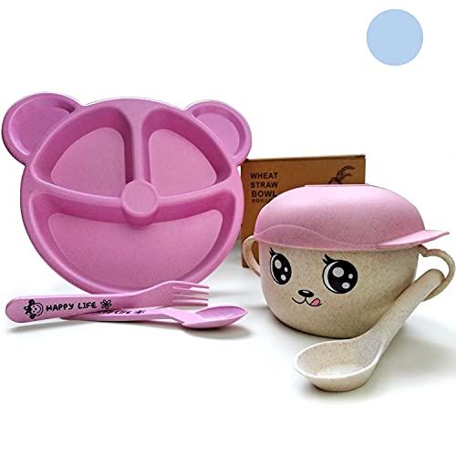MIGUIBU - Vajilla Bebe 6 meses o más | Diseño Infantil Niña y Niño | Sin BPA | Rosa y Azul | Incluye Plato Oso con Cubiertos + Taza con Cuchara | OK Microondas (Vajilla Infantil Bebe Rosa)