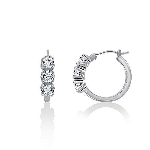 DIAMONBLISS Platinum or 18K Yellow Gold Clad Cubic Zirconia 3-stone Hoop Earrings- Platinum Clad