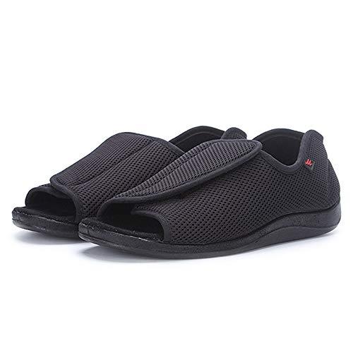 Willsky Zapatos diabéticos para Hombres, Espuma de Memoria Zapatillas para diabéticos Ampliación de Dedos Abiertos Velcro Ajustable Cómoda Red Artritis Edema Zapatos hinchados de la casa,41