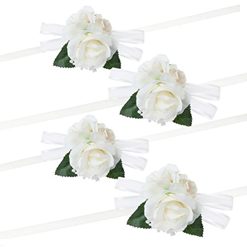 WONDERFIT Pack of 4 Girl Bridesmaid Wedding Wrist Corsage Party Prom Hand Flower Decor Ivory