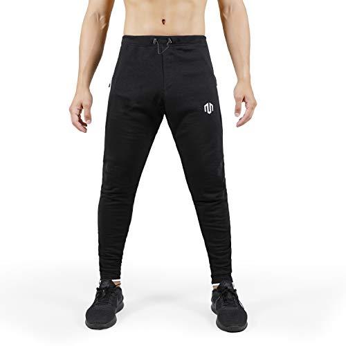 MOROTAI Sweatpants 2.0 Sporthose Herren Lang- Jogginghose Mit Mesh-Einsatz- Trainingshose Mit Reißverschlusstaschen - Baumwolle - Schwarz - XXL