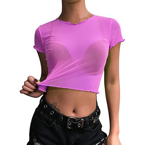 VEMOW Camisetas Mujer Moda Fluorescente O-Cuello Manga Corta Malla Perspectiva Corto Ombligo Top(Púrpura,XL)