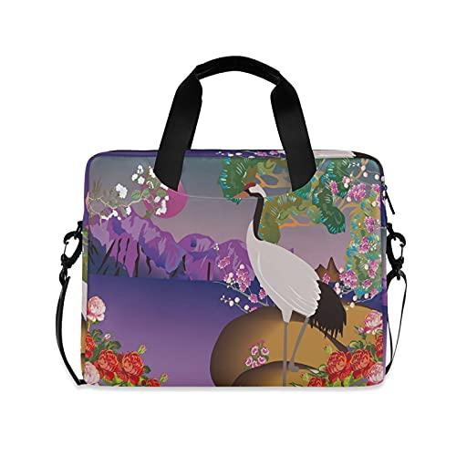 JNlover Japanese Bird Crane Flower Laptop Bag 16 inch, Portable Sleeve Briefcase Laptop Case Notebook Computer Carrying Case Bag for Women Men