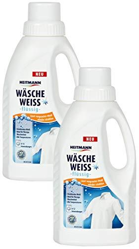 Heitmann Wäsche Weiß flüssig: Weißkraftverstärker für vergrauter Wäsche, Flüssigwaschmittel, Wäscheweiß, 2×500ml