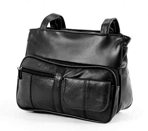 Authentic Men Women Unisex Work Travel Uni Real Leather Long Strap Satchel Black