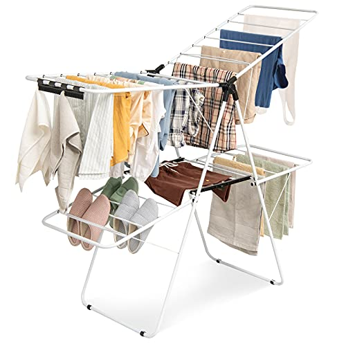 Tangkula 2-Level Clothes Drying Rack, Foldable Drying Hanger w  Height-Adjustable Gullwing, Steel Frame, Standing Drying Rack for Clothes Shoes Quilts, Portable Drying Hanger for Indoor & Outdoor Use