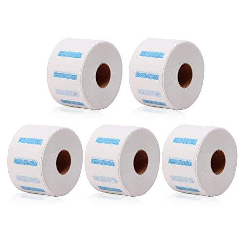 MOGOI Halspapier, 5 Rollen Einweg-Nackenschutz-Papierstreifen, Friseurkragen, dehnbares Hals-Abdeckpapier, Handtuch für Friseure und Friseure oder Haushalt