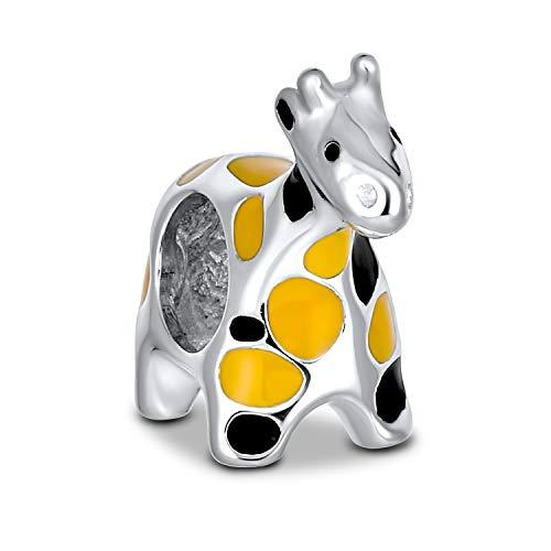 Bling Jewelry Orange Schwarz Giraffe Dschungel Tier Charm Perle Für Frauen 925 Für Teen Sterling Silber Passt Europäische Charm Armband