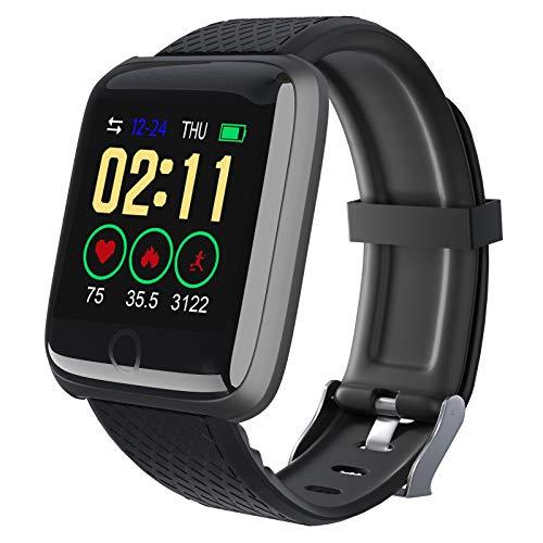 Smartwatch,Fitness Armbanduhr mit Pulsmesser Wasserdicht,Aktivitätstracker mit Pulsoximeter Schrittzähler Uhr Sportuhr,Schlafmonitor,Fitness Tracker für Damen Herren iOS Android