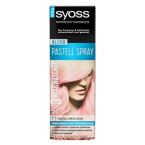 Syoss Prefessional Performance Blond Pastell Spray Nr. P1 Pastell Spray Rosé Inhalt: 125ml Farbe hält bis zu 3 Haarwäschen und stärkt die Haarfaser Pastellfarbe für effekte im blonden Haar.