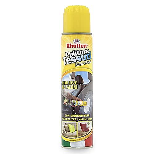 Rhütten, Pulitore Schiumogeno per la Pulizia dei Tessuti, Dotato di Spazzola per l Applicazione del Detergente, Prodotto ad Azione Disodorante, per Interni dell Auto, Tappeti, Poltrone, 400 ml