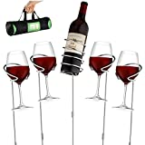 Wine Bottle & Cup Stakes Holder Rack - Adjustable Height to 36 INCHES, Durable Metallic Frame, Sturdy Base & Secure Grip | Holds Bottles of Wine, Beer,Champagne,Beverages,Glasses& More 5 Pieces Set