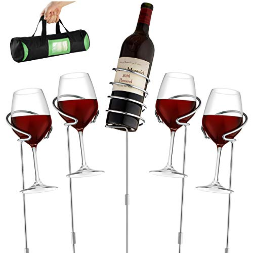 Wine Glass & Bottle Holder Stakes For Beach or BBQ.