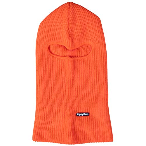 RefrigiWear Double Layer Acrylic Knit Open Hole Balaclava Face Mask (High Visibility Orange, One Size Fits All)