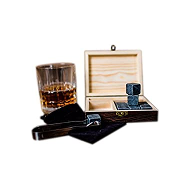 Whiskey Stones - Set Of 9 Natural Granite Reusable Ice Cold Chilling Stones - Stored In A Handcrafted Wooden Gift Box - Also Includes Velvet Bag And Tongs - Stone Set, Whiskey Stones For Men