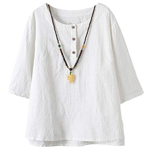 Vogstyle  Damen Neue Baumwoll Leinen Tunika T-Shirt Jacquard Oberseiten, M, Weiß