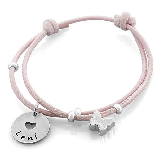 Taufarmband Mädchen mit Gravur ❤️ rosa Armband 925 Silber Kinderarmband zur Taufe Geburt ❤️ Silberschmuck Baby Kinder Psalm ❤️ Taufgeschenk mit Herz   HANDMADE IN GERMANY
