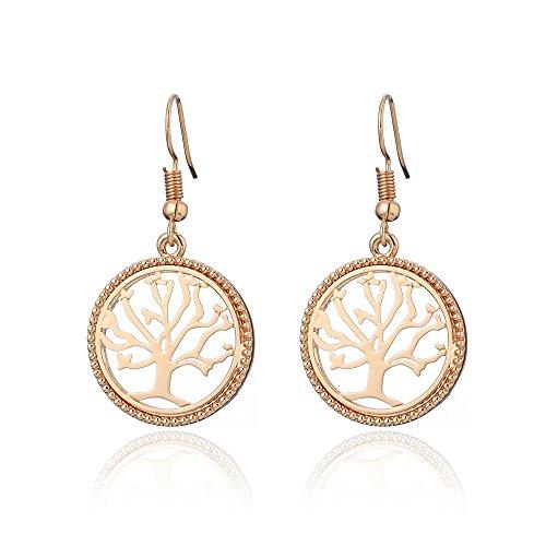 Pendiente Tree of Life para mujer, Pendiente colgante Regalo para niña Pendiente de oro Pendiente de aro de acero inoxidable (Oro rosa)