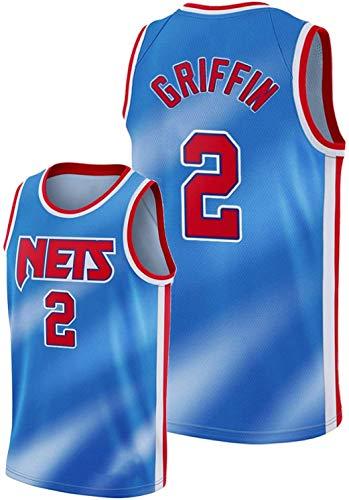 xiaotianshi Jerseys de la NBA de los Hombres -Brooklyn Nets # 2 Blake Griffin Cool Tela Transpirable Tela Transpirable Resistente al Desgaste Vintage Basketball Jerseys Top Camiseta,L