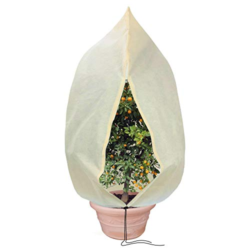 Tesmotor Winterschutz Pflanzen, Winterschutz Kübelpflanzensack Frostschutz Schutzhaube mit Zugband - 100 x 80 cm