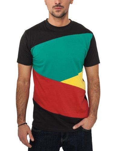 Urban Classics Zig Zag T-shirt pour homme Multicolore Noir/rasta, FR: Medium (Taille fabricant: Medium)