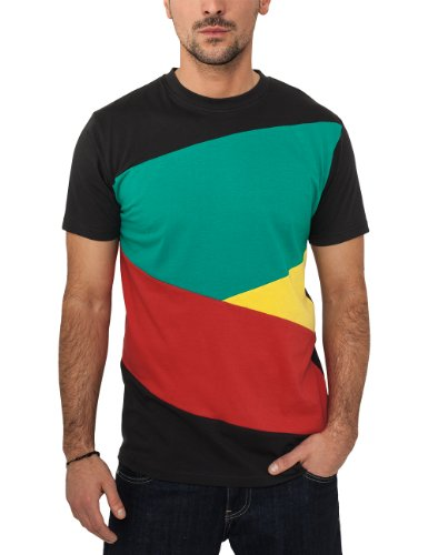 Urban Classics Bekleidung Zig Zag tee Camiseta, Hombre, Multicolor (Blk/Rasta), M