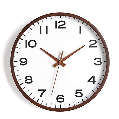 ZQQBRZXFT Cuarzo de Pared Silencioso Reloj De Madera Reloj Redondo Sala De Estar Dormitorio Silencioso Reloj De Pared Puntero De Madera Barrido Movimiento,16 Pulgadas