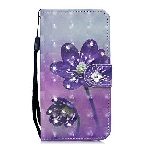 SGJFZD Funda protectora de piel para iPhone XR Business horizontal con diseño de flores y ranuras (patrón: flor morada)