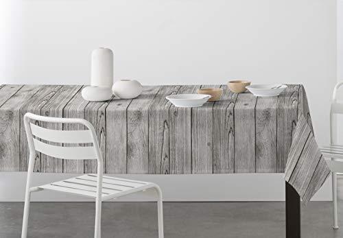 DHestia - Mantel Antimanchas Resinado con Teflón Estampado Imitación Madera Fusta (140x200 cm, Gris)