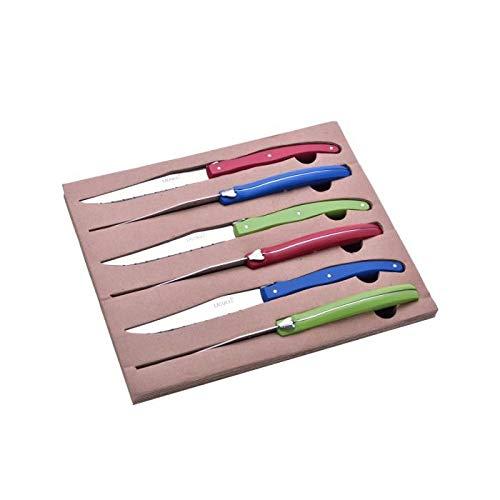LAGUIOLE - Coffret 6 Couteaux à steak de table - Manches en bois de Hêtre - Abeille Laguiole moulée sur la tranche du couteau - Coffret cadeau - Hêtre - Rouge, Bleu, Vert