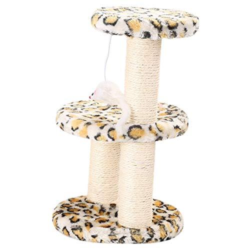 Ruibuy - Árbol de muebles de torre de gato, 3 capas, con postes de sisal de peluche para rascar